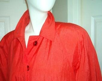 Vintage Orange Raincoat Swing Coat 80s GALLERY Size Medium