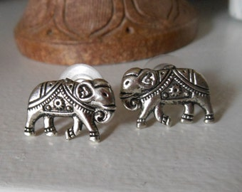 Large Silver Elephant Earrings - Large Elephant Stud Earrings - Silver Stud Earrings, Elephant Post Earrings