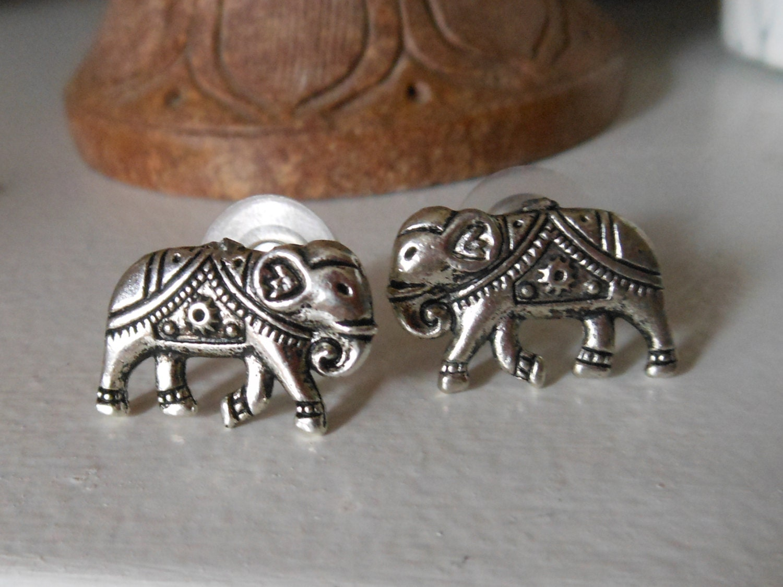 large silver elephant earrings large elephant stud earrings