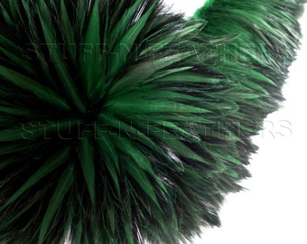 Wholesale/bulk feathers - Moss green - rooster furnace hackle feathers for millinery, crafts, fishing / strung 10 in (25 cm) / FB121-4