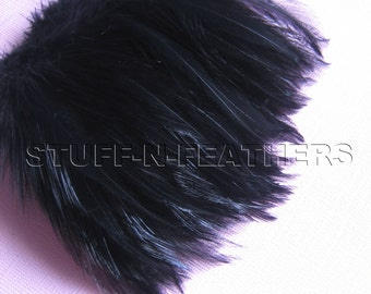 """Black rooster hackle feathers for jewelry making, millinery, accessories, fascinators, boutonniere, fishing & more, 4"""" (10 cm) long / F14-4"""