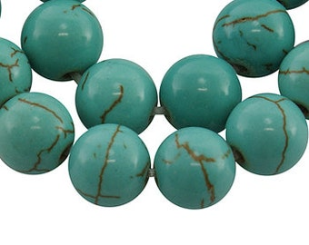 FREE SHIPPING within USA 4 Strands of 16 Inch Synthetic Howlite - Round Turquoise 4mm