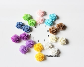 FREE SHIPPING within USA, 10 pcs Rose flower Resin Cabochons, 19x8mm