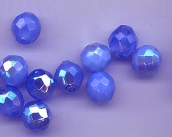 Twelve Czech firepolished glass  beads - 12 mm - unbelievably gorgeous opalescent sapphire/periwinkle blend with AB
