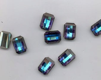 Eight vintage Swarovski crystal stones - checkerboard rectangles - 15 x 11 mm - heliotrope - as is