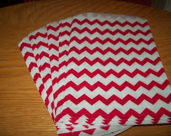 Chevron Red Middy Bitty Treat, Favor, Party, Bags Set of 20