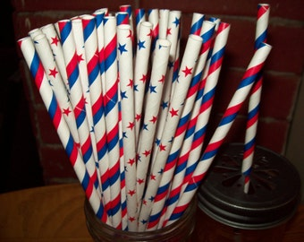Retro Looking Red White Blue Stars & Stripes Paper Drinking Straws 50