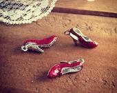 6 - 3D Shoe Charm, Enamel Charm, Wizard of OZ charm, ruby red slipper (AV056)
