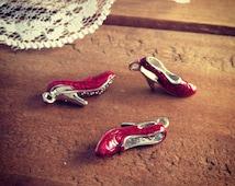 3D Shoe Charm, Enamel Charm, Wizard of OZ charm, ruby red slipper (AV056)