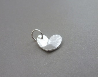 Silver Heart Charm - Sterling Solid Silver 925 Heart Charm with Split Ring Handmade
