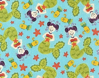 SALE - Extraordinary World - Pretty Mermaids - Turquoise - In The Beginning Fabrics -Choose Your Cut 1/2 or Full Yard