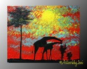 "Giraffe Painting AcRyLiCs on Canvas oRiGiNaL ArT 18"" x 14"" Ready to Hang by ArtworkbyJeni - ""Under African Skies"""