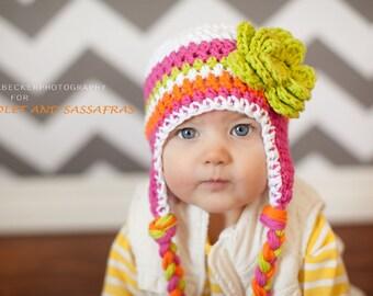 baby girls hat, little girls hat, baby hat, crochet baby hat, kids hat, crochet kids hat
