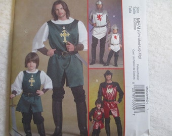 McCalls 5500 Knight Prince and Samurai Costume Mens Sewing Pattern s, m, l, xl Chest 34, 36, 38, 40, 42, 44, 46, 48