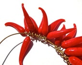 SUPPLY: 25 Red Glass Charms with Brass Wire - Lamp Work - (3-E3-00003144)