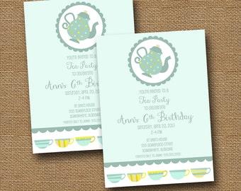 Cute Tea Party Invitation | Girl's Birthday Tea Party | Teal Tea Party | Bridal, Wedding Tea | Baby Shower Tea Party Invite | DIY PRINTABLE