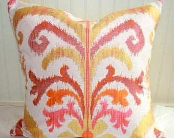 IN STOCK / Pink, Yellow, Orange Ikat Pillow Cover / 20 X 20 / Claridge Designer upholstery with yellow cotton duck back