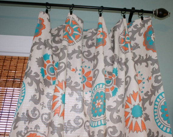 items similar to premier prints mandarin curtain panel custom drapery in creme orange. Black Bedroom Furniture Sets. Home Design Ideas