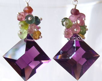 AAA Plum Quartz Fateted Fancy Square Briolettes with Genuine Tourmaline