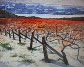 Winter Vineyard Giclee Print from Original Watercolor