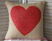 Burlap Heart Pillow FREE SHIPPING- Valentine Pillow- Decorative Pillows- Burlap Pillow- Valentine's Day Gift- Heart Pillow- Valentine's Day