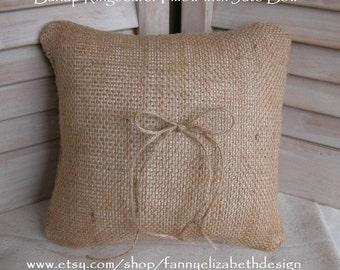 Rustic Ringbearer Pillow FREE SHIPPING- Ringbearer Pillow- Rustic Wedding- Burlap Ringbearer Pillow-