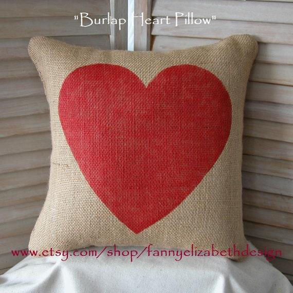 Burlap Heart Pillow FREE SHIPPING- Valentine Pillow- Decorative Pillows- Burlap Pillow- Valentine's Day Gift- Heart Pillow- Valentine's Day