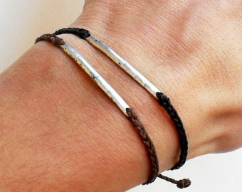 Men bracelet friendship bracelet - nylon cord with metal link bead bar