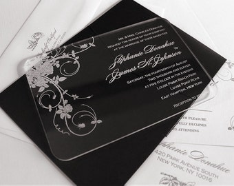 Engraved Acrylic Wedding Invitations - Jardin