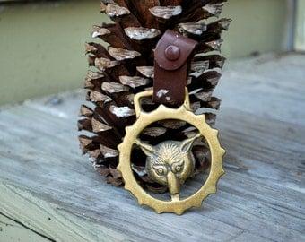 Vintage // Bronze Fox Head Bridle Charm // Fox Pendant // RARE Distressed Leather Buckle Horse