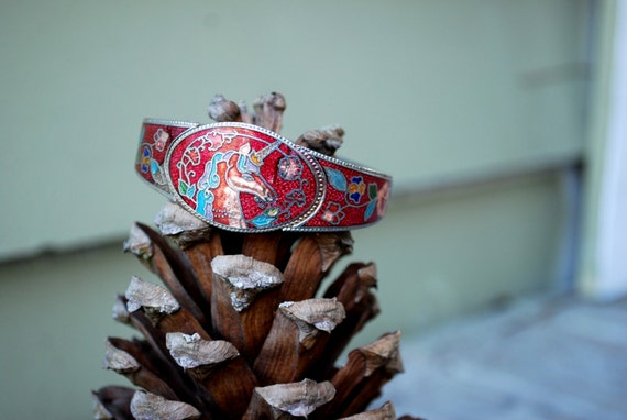 Vintage // Cloisonne Unicorn Cuff // Bangle Bracelet // Gypsy Glam 90's