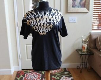 Women's Black Metallic Splatter Paint T-Shirt