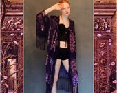 silk FRINGE Sheer Kimono Robe LACE devore indigo purple velvet Duster Flapper opera Deco Nouveau hippie Mucha Stevie Nicks BOHO gypsy osfa