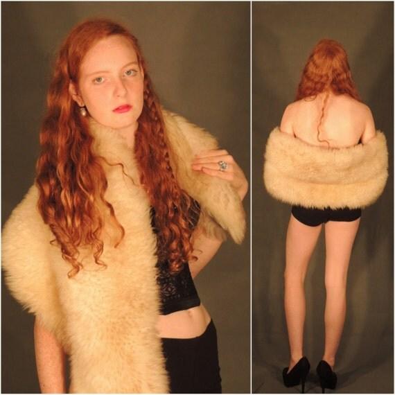 Vtg 50s SHAGGY Stole Sheep skin FUR Wrap slouchy BOHO hippie Penny Lane goddess Downton Abbey Flapper Festival Stevie Nicks  osfa