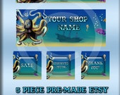 Etsy Shop Banner Set -Pre-made includes Facebook Graphic - Under The Sea