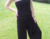 Vintage RESERVED FOR KARENStrapless Jumper Palazzo Pants Black Romper One Piece Ruched Waist Small Medium
