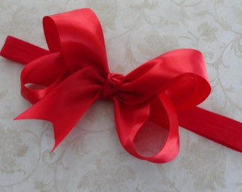 Baby Bow Headband - Red Satin 3.5 Inch Twisted Boutique Bow Headband - Baby Headband - Girls Headband - Photo Prop