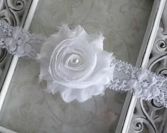 Baby Headband - White Shabby Chiffon Flower w/ Pearl on a White Lace Headband -  Baby Dedicaton - Christening