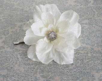 Bridal Soft  White Flower Hair Pin with Rhinestone -Small Hair Clip for Women, Brides, Bridesmaids or Older Girls