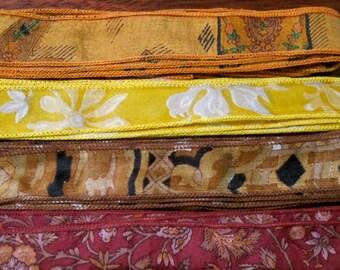 Silk Sari Ribbon, Silk Trim, 4 colors, A26