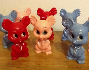 Toy Mice Figures Collection of 1940s Plastic