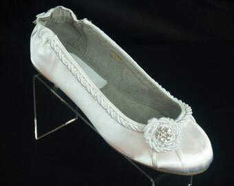 Wedding Flats White satin corded trim with pearls and crystals, rouged satin flats, rope trim, nautical inspired, comfortable flats
