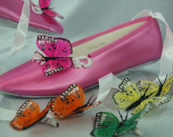 Butterflies Shoe Clips hot pink, purple, blue, yellow, orange