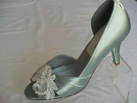 Brides Sage Wedding Shoes With Beautiful Ivory Or White