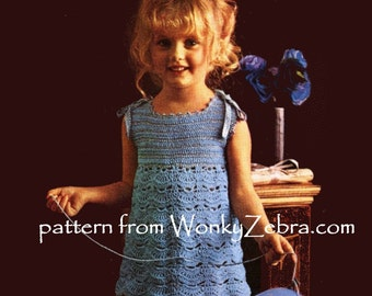 Vintage Childs Crochet Dress Pattern PDF B040 from WonkyZebraBaby
