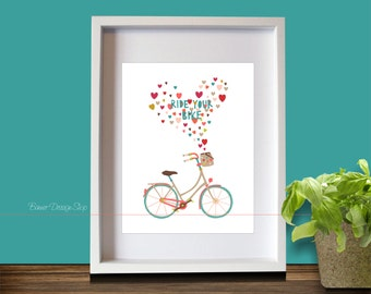 Ride Your Bike Bicycle Icon Art Print Home Decor Living Room in pastel colors hearts Modern Wall Graphic Design Picture Love Cycling Funny
