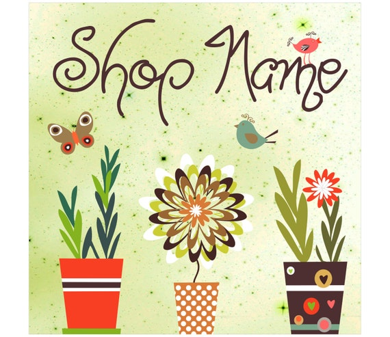 Premade Etsy shop Banner set ogranic green design flower pots with ceramic chevron stripes dots birds and butterflies Business Card Design