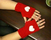 Valentines Wristlets Fingerless Mitts Hand Warmers - Red w White Hearts