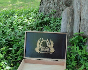 JD Gold Logo Black Cigar Box Wooden Storage Organizer Gift Wedding Party Favors
