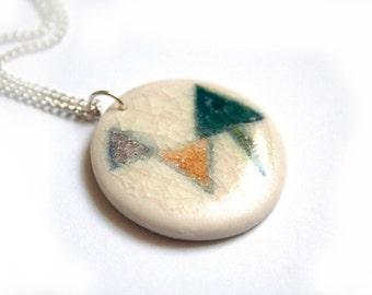 Ceramic necklace - Porcelain pendant - Contempary geometric necklace